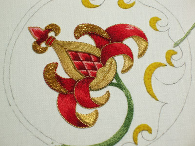 Goldwork Embroidery Project: Adding the Stem in Silk