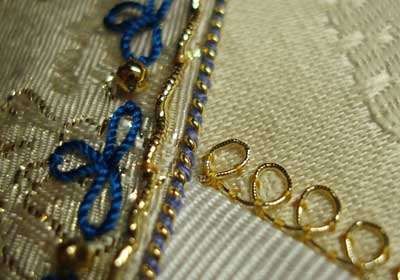 Goldwork on a Crazy Quilt Seam