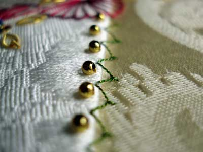 Goldwork on a Crazy Quilt Square