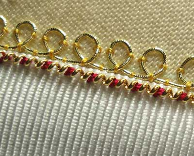 Goldwork: Embroidery with Real Metal Thread: Stretching and Couching Pearl Purl