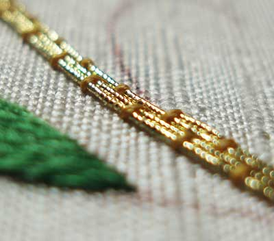 Goldwork with Silk Shading: project in the works