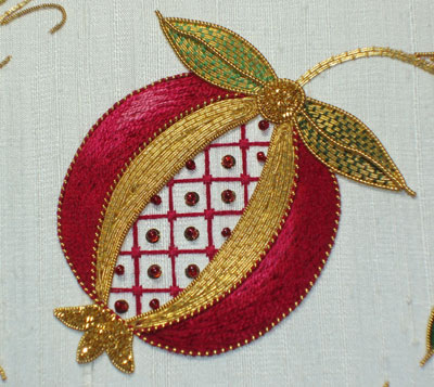 The Golden Pomegranate designed by Margaret Cobleigh, stitched by me