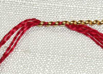 Wrapping Pearl Purl with Silk in Goldwork Embroidery