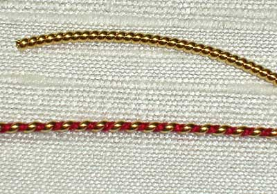 Goldwork Technique: Wrapping Pearl Purl with Silk