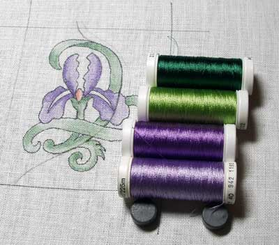 Goldwork Iris Project - thread selection