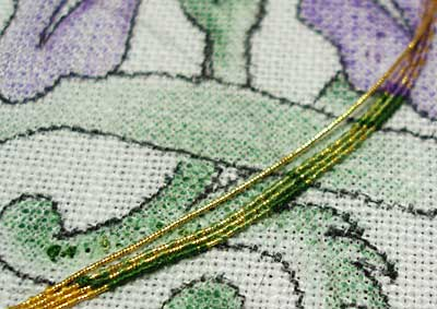 Goldwork Iris: Shading in Goldwork Or Nué