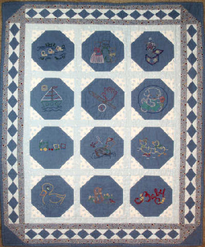 Embroidered Baby Quilt in flannel