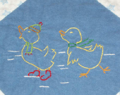 Embroidered Baby Quilt in flannel - winter ducks