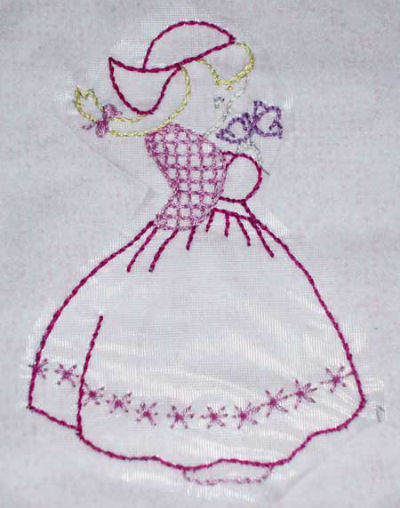 Little Dutch Girl embroidered quilt square