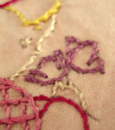 embroidered Little Dutch Girl face and flowers