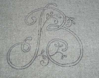 White Hand Embroidered Monogram on Oatmeal Linen Guest Towel
