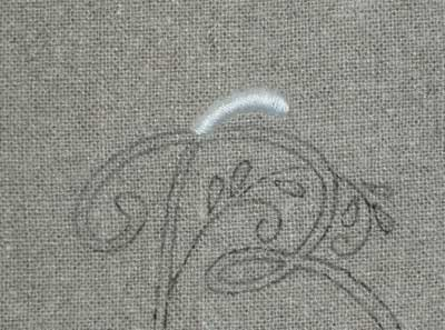 W hite Hand Embroidered Monogram on Oatmeal Linen Guest Towel