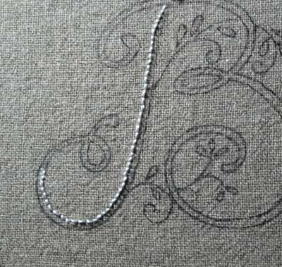 Hand Embroidered Monogram on Linen Guest Towel