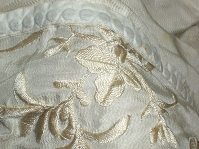 Hand Embroidered Silk Wedding Dress from 1914