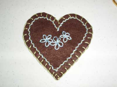 Embroidered Felt Heart for Kids Embroidery Class
