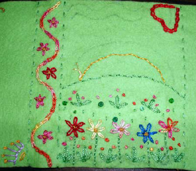 Kid's Embroidery on Green Felt