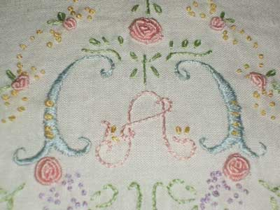 Hand Embroidered Baby Pillow Case, Children's Embroidery Classes, Summer, 2008