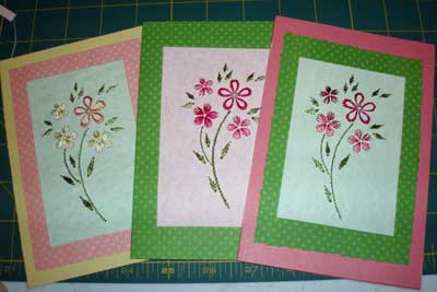 Hand Embroidered Greeting Cards from Kids Embroidery Classes