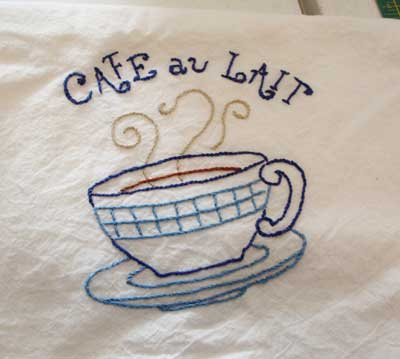 Hand Embroidered Dish Towel with Coffee Cup Design