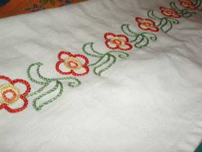 Hand Embroidered Kitchen Towel for Children's Embroidery Classes - Project Sample