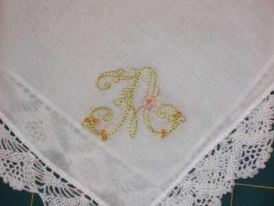 Hand Embroidered Handkerchief - Kids' Embroidery Classes, 2008