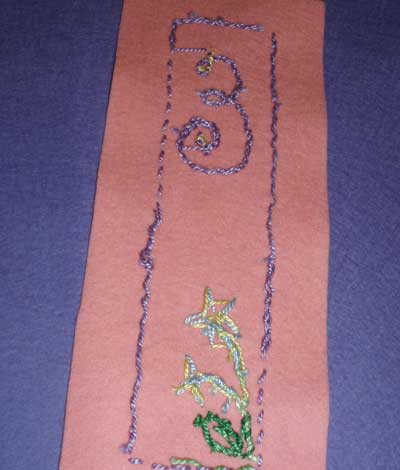Hand embroidered wool felt bookmark for kids' embroidery project