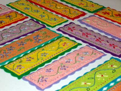Hand Embroidered Bookmarks on Felt