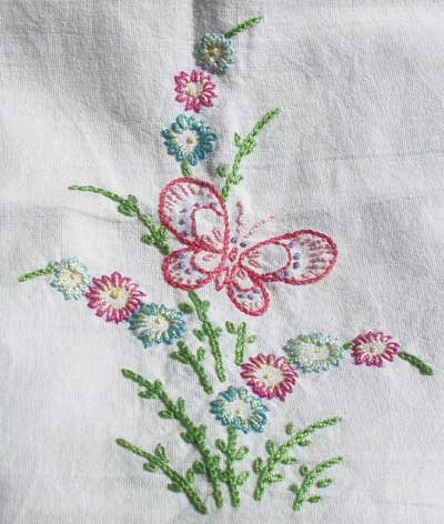 Hand Embroidered Butterfly Towel from Children's Embroidery Class, Summer, 2008