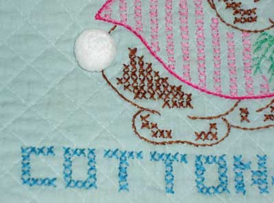 Vintage Embroidered Baby Quilt: Peter Rabbit and Company