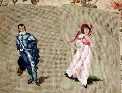 Pinkie and Blue Boy in needlepoint