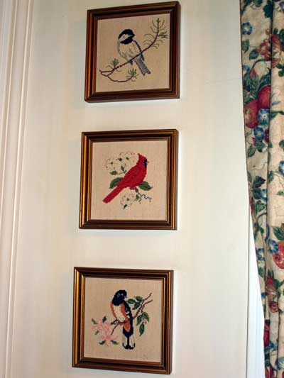 Three Counted Cross Stitch Birds