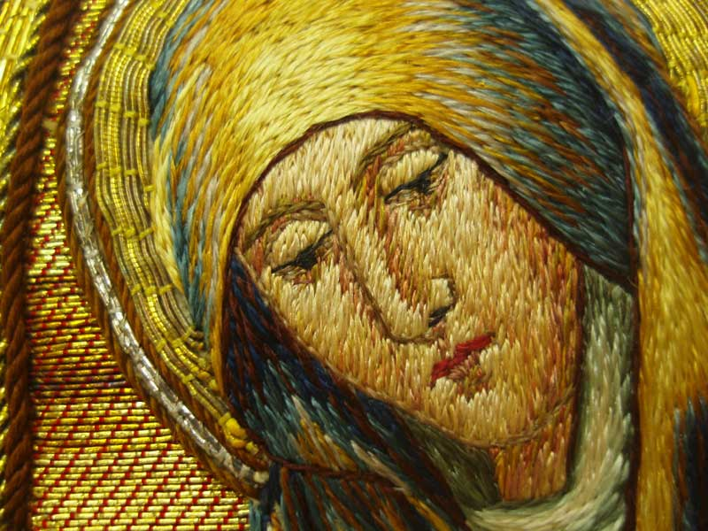 Hand Embroidered Face: Virgin Mary in Ecclesiastical Embroidery