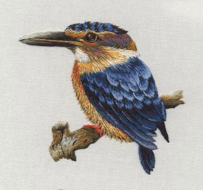 African Pygmy Kingfisher embroidery kit by Trish Burr
