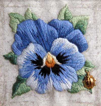 Long and Short Stitch Shading on an Embroidered Pansy