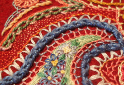 seed stitch in embroidery sampler