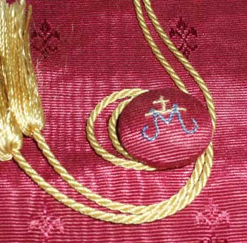 Embroidered Pouch for church linens, with cord and button closure