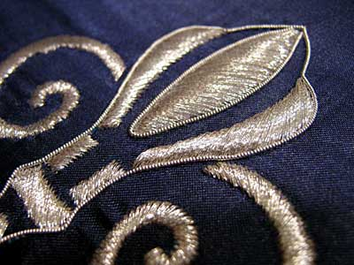 Satin Stitch in Metal Threads