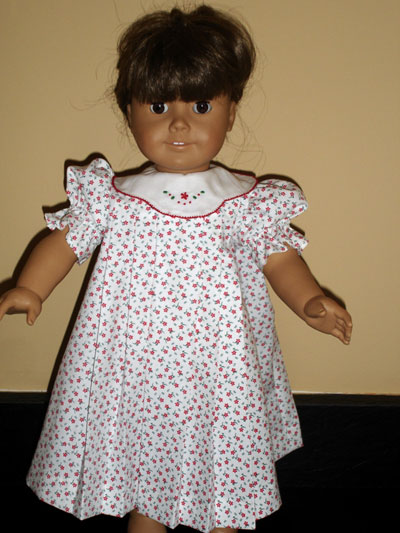 Doll Dress with Hand Embroidered Collar