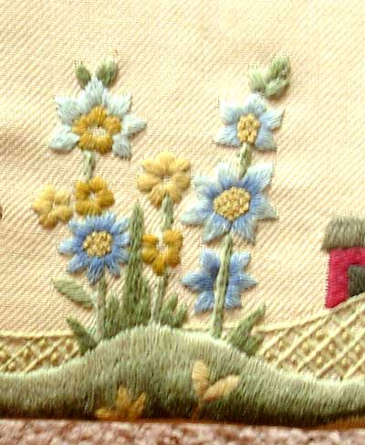 Hand Embroidered Footstool in Crewel Work