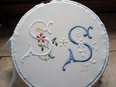 Hand Embroidered Monograms in Whitework and Color