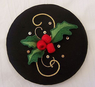 Goldwork and Stumpwork Holly Design by Sandra Vass