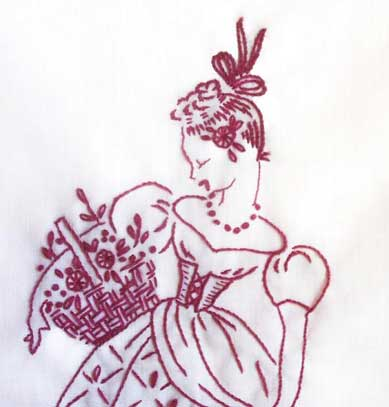 Redwork Embroidery: Lady with Basket and Flowers