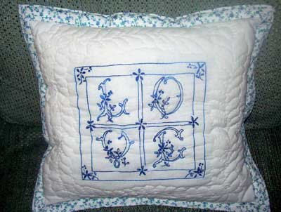 Hand Embroidered and Quilted Pillow