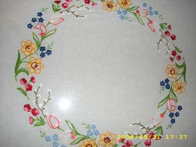 Hand Embroidered Table Cloth Flowers
