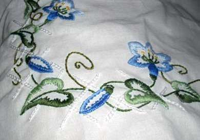 Hand Embroidered Table Cloth: Flowers
