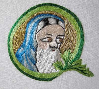 Opus Anglicanum split stitch