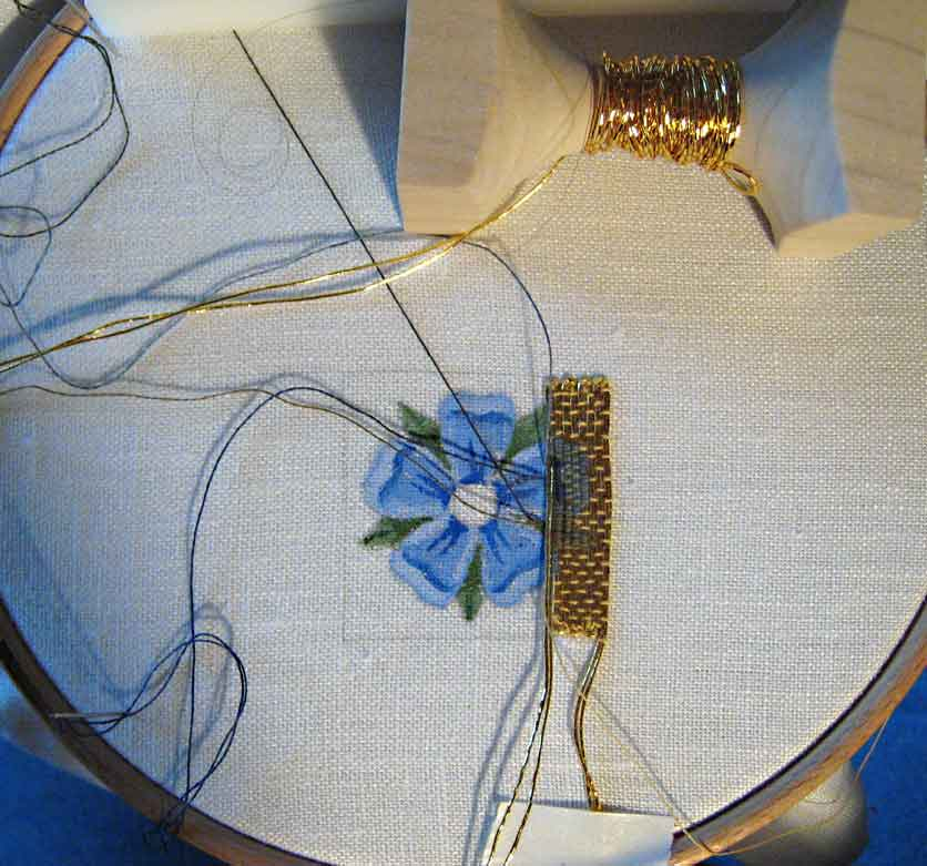 Or Nue Goldwork Piece stitched by Margaret Cobleigh