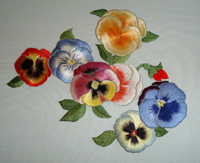 Pansies - Japanese Embroidery