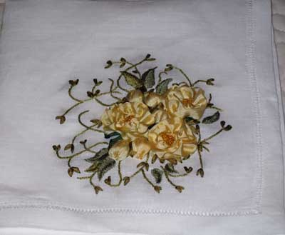 How To Do Ribbon Embroidery of Roses Flower Embroidered Fold - YouTube