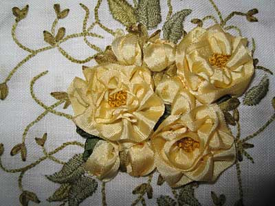 Silk Ribbon Embroidery on Linen